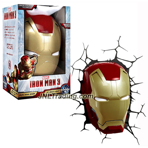 3DLightFX Marvel Avengers Assemble Series Battery Operated 10 Inch Tall 3D Deco Night Light - IRON MAN MASK with Light Up LED Bulbs and Crack Sticker