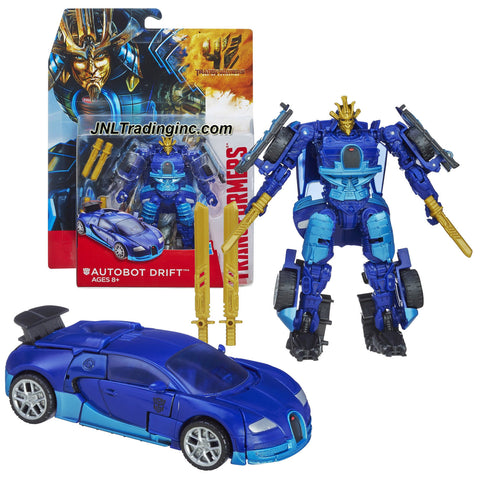 "Hasbro Year 2013 Transformers Movie Series 4 ""Age of Extinction"" Deluxe Class 5-1/2 Inch Tall Robot Action Figure - AUTOBOT DRIFT with 2 Tanto Blades and 2 Katana Swords (Vehicle Mode: Bugatti)"
