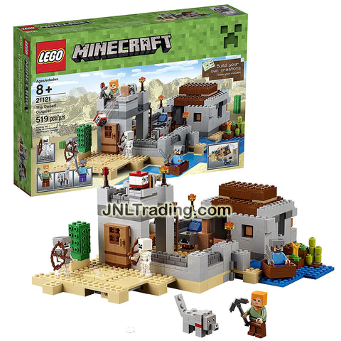 Lego Year 2015 Minecraft Series Set #21125 - THE DESERT OUTPOST with Boat, Cactus, Lookout Tower, Wolf, 2 Skeletons Plus Alex and Steve Minifigure (Pieces: 519)