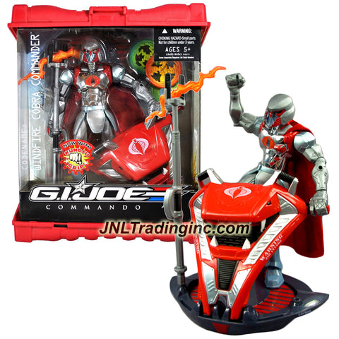 Hasbro Year 2007 G.I. JOE Commando Series 9 Inch Tall Action Figure Set - WINDFIRE COBRA COMMANDER with Kung Fu Grip, Lightning Staff and Zeus Chariot with 3 Element Wheels (Wind, Lightning and Fire) Plus Caps that Forms Weapon Case