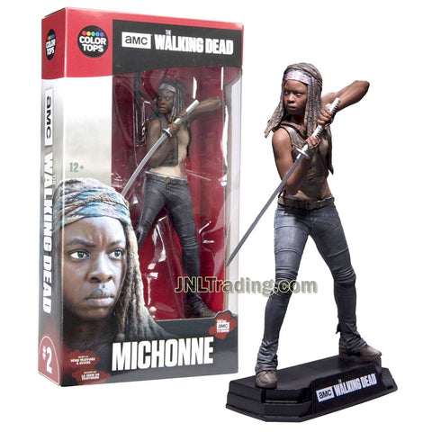 Year 2016 AMC TV Series Walking Dead 7 Inch Tall Figure - MICHONNE with Samurai Sword and Display Base