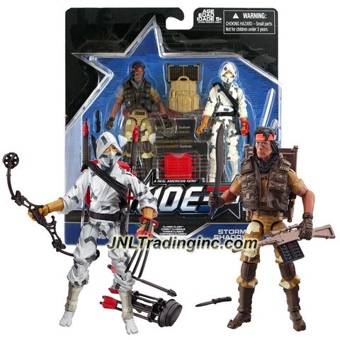 Hasbro Year 2015 G.I. JOE 50 Series 2 Pack 4 Inch Tall Action Figure Set - CLASSIC CLASH with SPIRIT IRON-KNIFE and STORM SHADOW Plus Dart Rifle, Knives, Machete, Twin Katanas, Backpacks, Bow, Arrows, Display Bases and Profile Cards