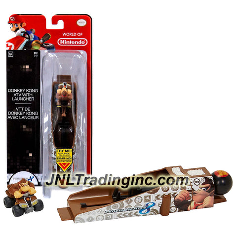 "Jakks Pacific Year 2014 World of Nintendo ""Mariokart 8"" Series 2-1/2 Inch Long Vehicle - DONKEY KONG ATV with LAUNCHER"