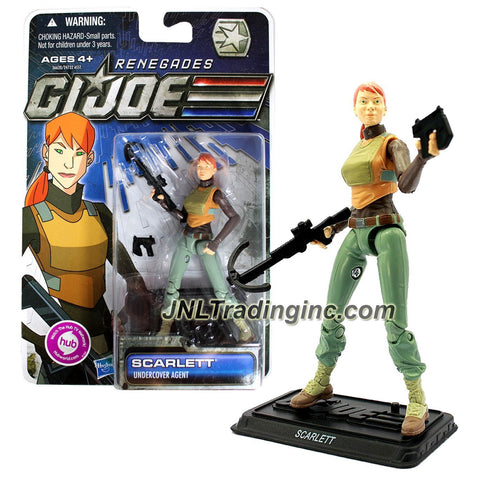 Hasbro Year 2011 G.I. JOE Renegades Series 4 Inch Tall Action Figure - Undercover Agent SCARLETT with Crossbow, Plasma Pulse Gun and Display Stand