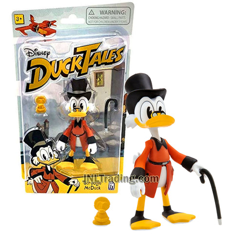 Disney DuckTales Series 4-1/2 Inch Tall Figure - SCROOGE MCDUCK with Walking Stick and Gold Duck Statue