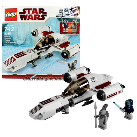 "Lego Year 2010 Star Wars Animated Series ""The Clone Wars"" Vehicle Set #8085 - FREECO SPEEDER with Opening Cockpit and Rear Cargo Hold Plus 2 Mini Figures - Anakin Skywalker with Blue Lightsaber and Talz Chieftain with Spear (Total Pieces : 177)"