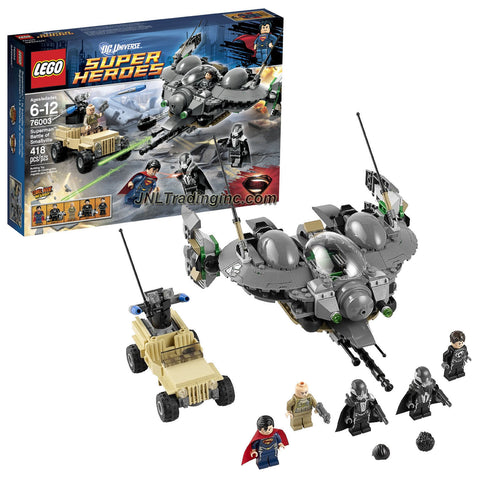 Lego Year 2013 DC Universe Super Heroes Series Battle Scene Set #76003 - SUPERMAN BATTLE OF SMALLVILLE with Black Zero Dropship and Offroader Plus Superman, Colonel Hardy, General Zod, Faora and Tor-An Minifigures (Total Pieces: 418)