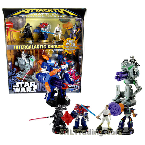 Attacktix Year 2006 Battle Figure Game Transformers Vs. Star Wars Series Battle Masters Set - Darth Vader, Optimus Prime, Luke Skywalker and Megatron Plus AT-RT and Omega Sentinel