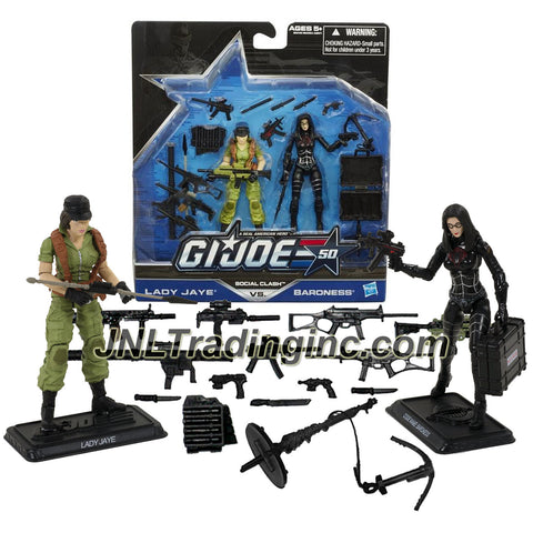 Hasbro Year 2014 G.I. JOE 50 Series 2 Pack 4 Inch Tall Action Figure Set - SOCIAL CLASH with LADY JAYE and BARONESS Plus Assault Rifles, Guns, Missile Launcher, Grappling Hook with Launcher, Knives, Suitcase and Sub Machine Guns