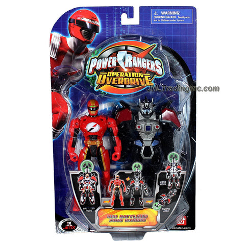Bandai Year 2007 Power Rangers Operation Overdrive Series 6 Inch Tall Action Figure Set - RED BATTLIZER ZORD RANGER with 3 Different Mode to Play (Battlized, Zord and Sword)