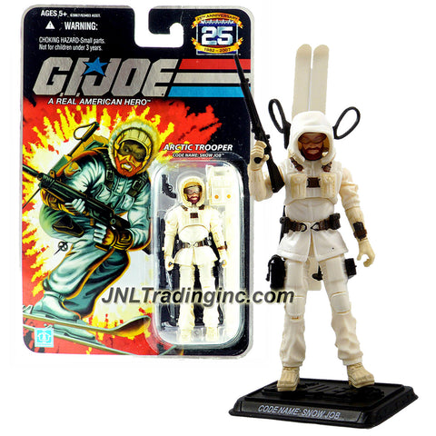 Hasbro Year 2007 G.I. JOE A Real American Hero 25th Anniversary Series 4 Inch Tall Action Figure - Arctic Trooper SNOW JOB with Rifle, Gun, Pair of Skis with Poles, Backpack and Display Base
