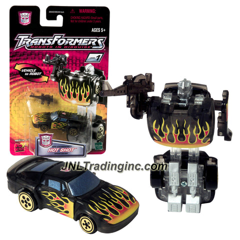 Hasbro Year 2001 Transformers Robots In Disguise Spy Changers Series 3 Inch Tall Robot Action Figure - Autobot HOT SHOT with Blaster Rifle (Vehicle Mode: Sports Car)