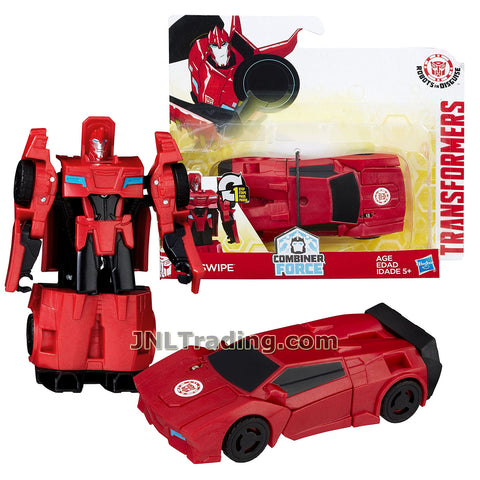 Transformers Year 2016 Transformers Robots In Disguise Combiner Force 1 Step Changer 5 Inch Tall Figure - Red SIDESWIPE (Vehicle Mode: Sports Car)