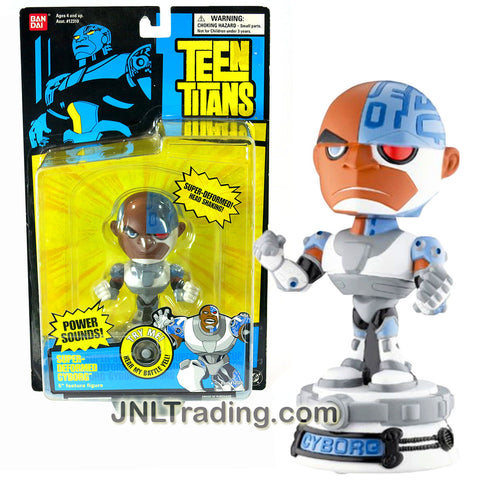 Bandai Year 2004 DC Comics Teen Titans Go! Series 5 Inch Tall Electronic Figure : SUPER-DEFORMED CYBORG with Power Sound and Head Shaking Feature