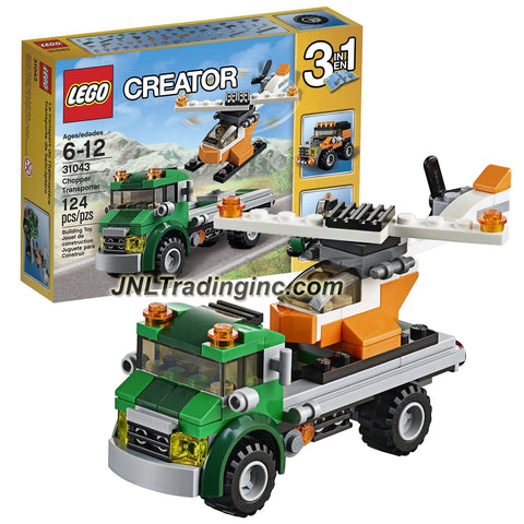 Lego Year 2016 Creator Series 3 in 1 Set #31043 - CHOPPER TRANSPORTER with Helicopter Alternative Mode: Tractor / Off-Roader) [Total Pieces: 124]