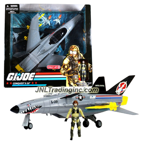 Hasbro Year 2008 G.I. JOE A Real American Hero Series Exclusive Deluxe Action Vehicle Set - Fighter Jet CONQUEST X-30 with Removable Missiles, Fold-Up Landing Gear, Removable Bombs and Opening Canopy Plus Lt. Slip Stream Figure