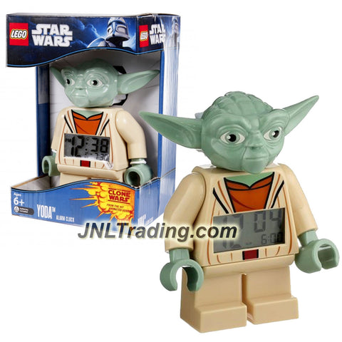 "Lego Year 2010 Star Wars Animated Series ""The Clone Wars"" 7 Inch Tall Figure Alarm Clock Set# 9003080 - YODA with Moving Arms and Backlight Display"
