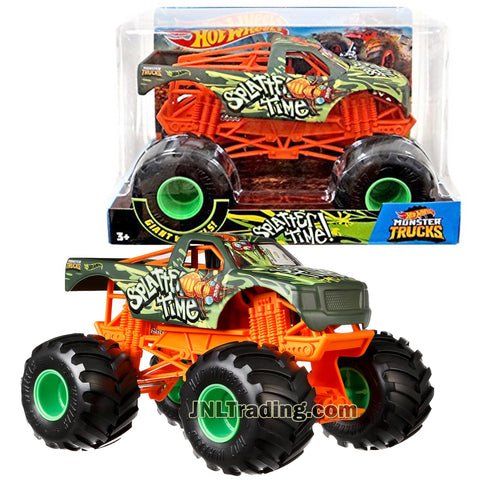 Hot Wheels Year 2018 Monster Jam 1:24 Scale Die Cast Metal Body Official Truck - SPLATTER TIME FYJ93 with Monster Tires, Working Suspension and 4 Wheel Steering