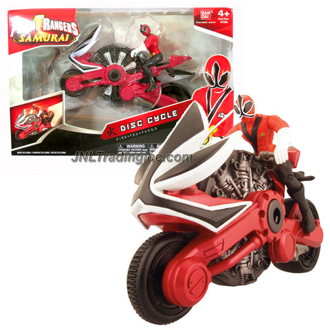 Bandai Year 2011 Power Rangers Samurai Series 7 Inch Long Action Figure Vehicle Set - FIRE DISC CYCLE with Red Power Ranger Figure