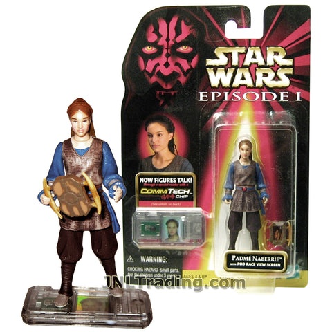 Star Wars Year 1998 The Phantom Menace Series 4 Inch Tall Figure - PADME NABERRIE with Pod Race View Screen and CommTech Chip