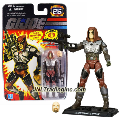 Hasbro Year 2007 G.I. JOE A Real American Hero 25th Anniversary Series 4 Inch Tall Action Figure - Master of Disguise ZARTAN with Sniper Rifle, Alternative Face, Dagger, Backpack and Display Base