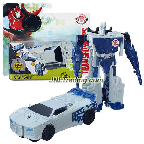 Hasbro Year 2015 Transformers Robots in Disguise Animation One Step Changer 5 Inch Tall Figure - Blizzard Strike SIDESWIPE (Vehicle Mode: Sports Car)