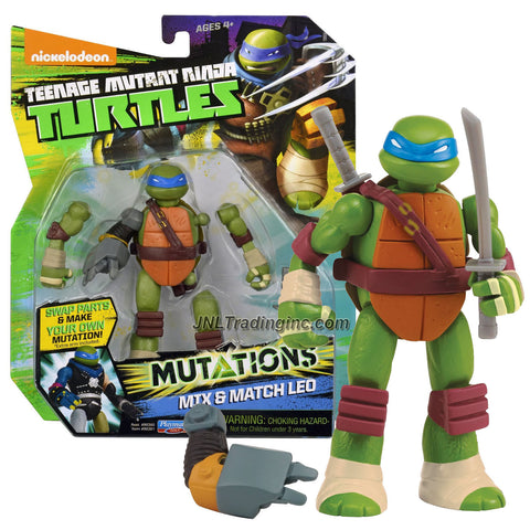 "Playmates Teenage Mutant Ninja Turtles TMNT ""Mutations Mix and Match"" Series 5"" Tall Figure - LEO with 2 Katana Swords and Metalhead Right Arm"