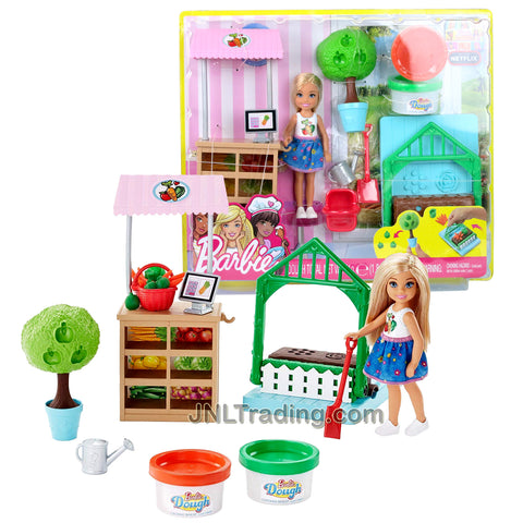 Year 2017 Barbie Dreamhouse Adventures Series 5-1/2 Inch Doll Playset - CHELSEA with Apple Tree Mold, Veggie Stands, Soil Press, Shovel, Water Can, Basket and 2 Colors of Dough