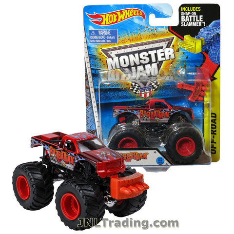 "Hot Wheels Year 2014 Monster Jam 1:64 Scale Die Cast Truck OFF-ROAD Series - BARBARIAN (CFT78) with Snap-On Battle Slammer (Dimension : 3-1/2"" L x 2-1/4"" W x 2-1/2"" H)"