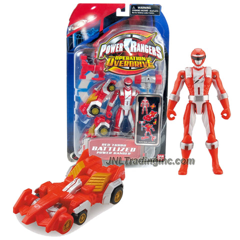 Bandai Year 2006 Power Rangers Operation Overdrive Series 5-1/2 Inch Tall Action Figure Set - RED TURBO BATTLIZED POWER RANGER with Battle Gear that Transforms into a Vehicle
