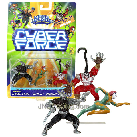 Year 1995 Mega Heroes The Ultimate Encounter Cyber Force Limited Edition Collector Series 3 Pack 2-1/2 Inch Tall Mini Figures - FLYING S.H.O.C. , VELOCITY and WARRIOR RIPCLAW
