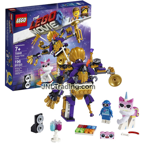 Year 2019 Lego The Movie Series #70848 - SYSTAR PARTY CREW with One-Man-Metal-Band toy mech w/ Metalbeard Head, Unikitty and Stardust Benny (196 Pcs)