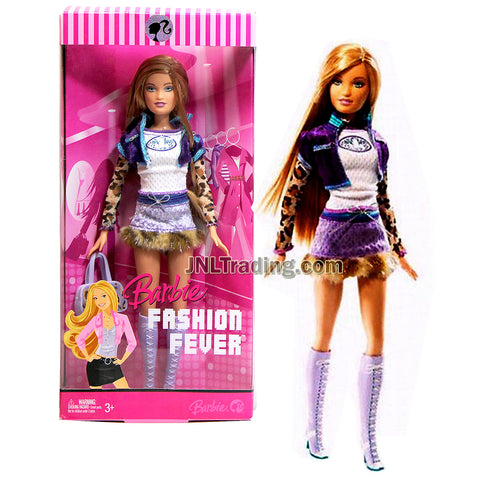 Year 2007 Barbie FASHION FEVER Series 12 Inch Doll - SUMMER in Leopard Print Long Sleeve Tops, Purple Cropped Jacket and Fur Trim Skirt with Purse and Boots