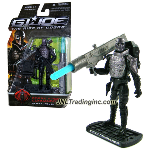 "Hasbro Year 2008 G.I. JOE Movie ""The Rise of Cobra"" Series 4 Inch Tall Action Figure - Desert Ambush COBRA VIPER COMMANDO with Electromagnetic Rifle, Grappling Hook, Missile Launcher with 1 Missile and Display Base"