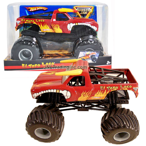 "Hot Wheels Year 2009 Monster Jam 1:24 Scale Die Cast Metal Body Official Monster Truck Series #T0230- Red EL TORO LOCO with Monster Tires, Working Suspension and 4 Wheel Steering (Dimension : 7"" L x 5-1/2"" W x 4-1/2"" H)"