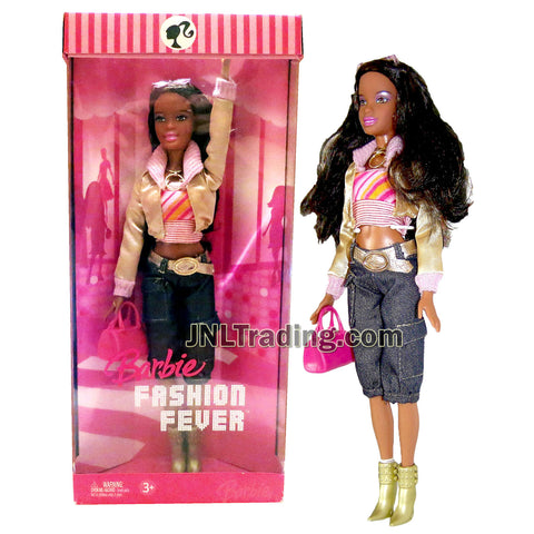 Year 2006 Barbie Fashion Fever Series 12 Inch Doll - Sassy, Smart and Cool NIKKI in Pink Tube Tops, Gold Jacket & Denim Pants with Sunglasses, Necklace, Purse and High Heel Boots