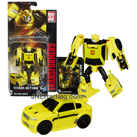 Hasbro Year 2016 Transformers Titans Return Legends Class 4 Inch Tall Figure - BUMBLEBEE with Collector Card (Vehicle Mode: Compact Car)