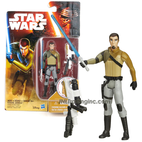 "Hasbro Year 2015 Star Wars Rebels Series 4"" Tall Figure - KANAN JARRUS with Blue Lightsaber and Build A Weapon Part #2"