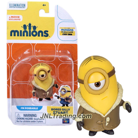 Thinkway Toys Illumination Entertainment Movie Minions 2 Inch Tall Figure - BORED SILLY STUART with Poseable Arms