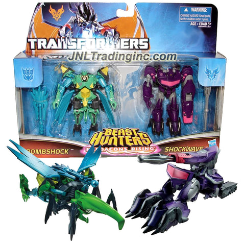 "Hasbro Year 2013 Transformers Prime ""Beast Hunters - Predacon Rising"" Series Exclusive 2 Pack 4 Inch Tall Commander Class Robot Action Figure - Predacon BOMBSHOCK (Beast Mode: Hercules Beetle) and Decepticon SHOCKWAVE (Vehicle Mode: Cybertronian Tank) Plus 2 Missiles"