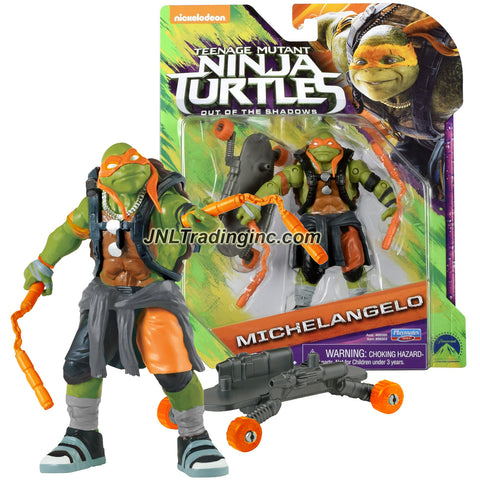 Playmates Year 2016 Teenage Mutant Ninja Turtles TMNT Movie Out of the Shadow Series 5 Inch Tall Action Figure - MICHELANGELO with Nunchucks and Skateboard