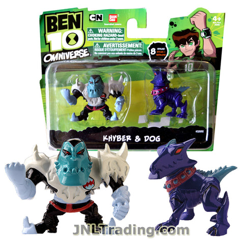 Cartoon Network Year 2013 Ben 10 Omniverse Series 2 Pack 2 Inch Tall Mini Action Figure Set - KHYBER and DOG