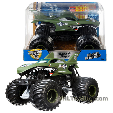 Hot Wheels Year 2017 Monster Jam 1:24 Scale Die Cast Metal Body Official Monster Truck Series #DWN98 -SHARK SHOCK with Monster Tires, Working Suspension and 4 Wheel Steering