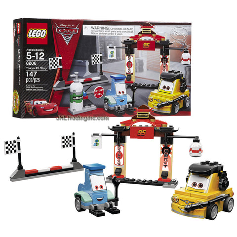 "Lego Year 2011 Disney Pixar ""Cars 2"" Movie Scene Set #8206 - TOKYO PIT STOP with Japanese Style Pit Plus Luigi and Guido (Total Pieces: 147)"