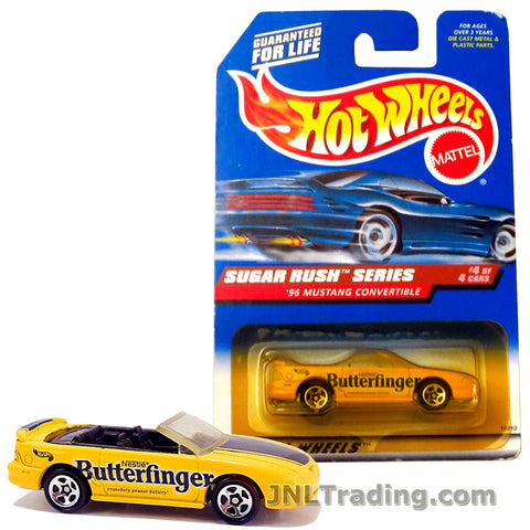 Hot Wheels Year 1997 Sugar Rush Series 1:64 Scale Die Cast Car Set #4 - Nestle Butterfinger Yellow Color Sports Coupe '96 MUSTANG CONVERTIBLE 18810