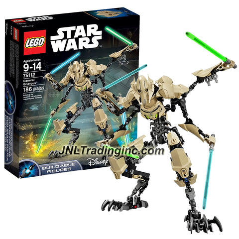 Lego Year 2015 Star Wars Series 12 Inch Tall Figure Set #75112 - GENERAL GRIEVOUS with 4 Lightsabers (Total Pieces: 186)