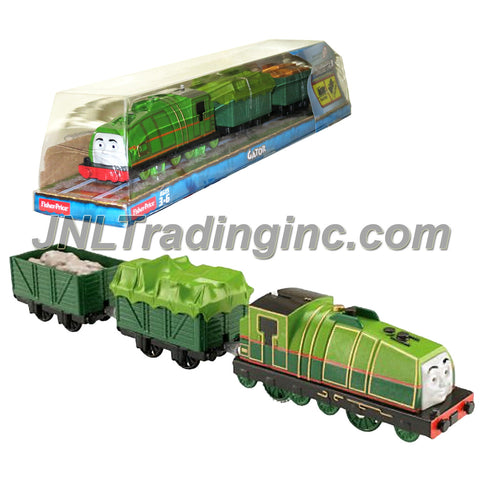 "Fisher Price Year 2014 Thomas and Friends Trackmaster As Seen on DVD "" Tale of the Brave"" Enhanced Motorized Railway Battery Powered Engine 3 Pack Train Set - GATOR the Green Color Steam Locomotive with Tarp Covered Car and ""Cargo Loaded"" Car"