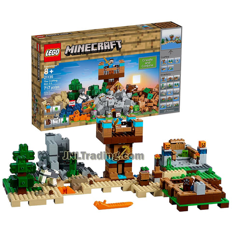 Lego Year 2017 Minecraft Series Set 21135 - THE CRAFTING BOX 2.0 with Steve's House, Steve, Horse, Cow, Slime and Creeper Figures (717 Pieces)
