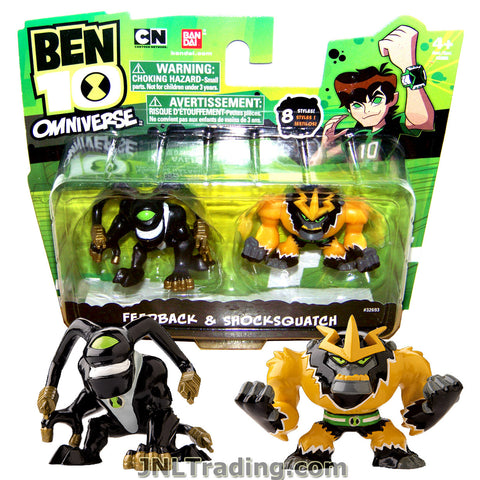 Cartoon Network Year 2013 Ben 10 Omniverse Series 2 Pack 2 Inch Tall Mini Action Figure Set - FEEDBACK and SHOCKSQUATCH