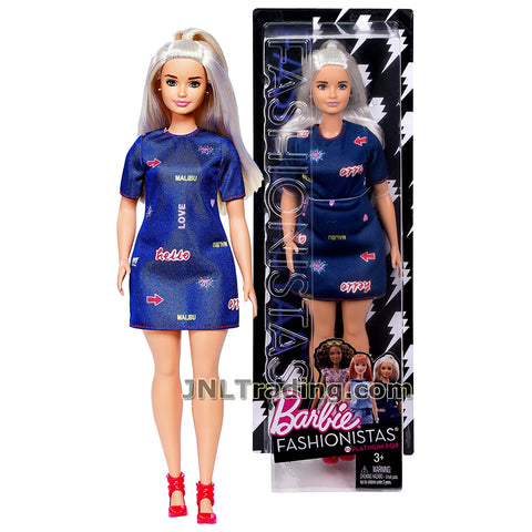 Barbie Year 2016 Fashionistas Series 12 Inch Doll - Curvy Caucasian BARBIE DYY93 in Platinum Pop Navy Blue Dress with Earrings